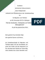 Grußwort der Niedersächsischen Kultusministerin Frauke Heiligenstadt