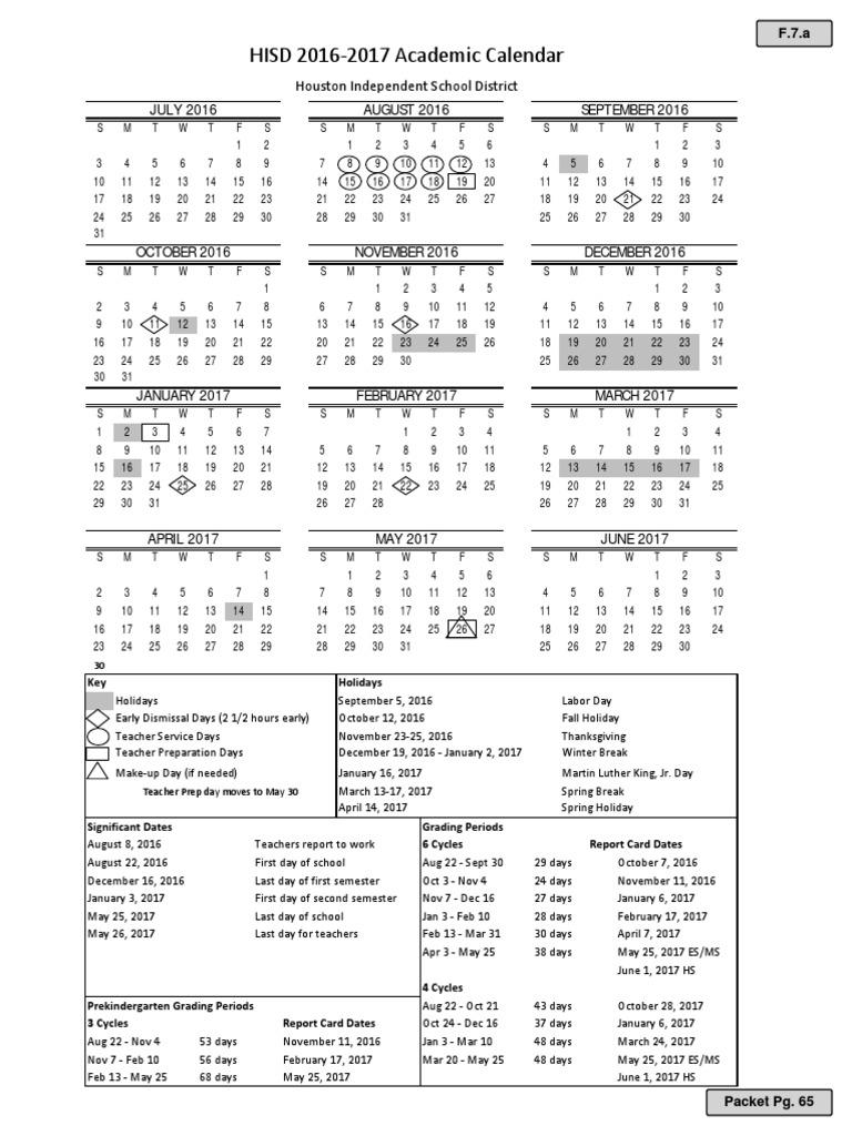 HISD Proposed Calendar 2016 17