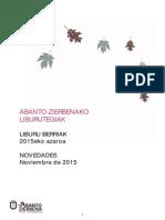 Udazkeneko liburu berriak|Novedades de otoño