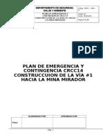 Plan de Emergencia y Contingencia Crcc14 Construcción Vía #1 Hacia La Mina Mirador
