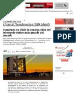 Comienza en Chile La Construcción Del Telescopio Óptico Más Grande Del Mundo
