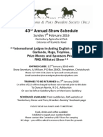 Canterbury Horse and Pony Breeders Society 43rd Annual Show Schedule February 2016