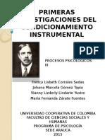 Primeras Investigaciones Del Condicionamiento Instrumental
