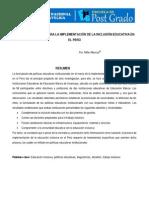 POLÍTICA EDUCATIVA PARA LA IMPLEMENTACIÓN DE LA INCLUSIÓN EDUCATIVA EN EL PERÚ