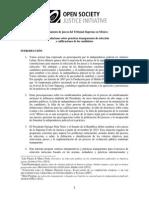 Recomendaciones de OSF para el nombramiento de jueces del Tribunal Supremo en México