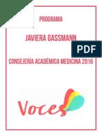 Programa Javiera Gassmann Consejera Académica Medicina 2016