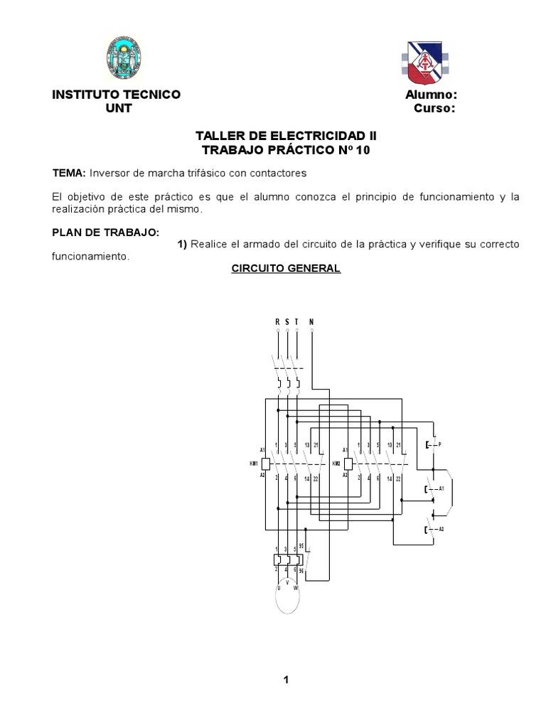 Circuito General : Tp n° 10 inversor trifÁsico con contactores