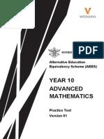 Year10 Advanced Maths Practice Test