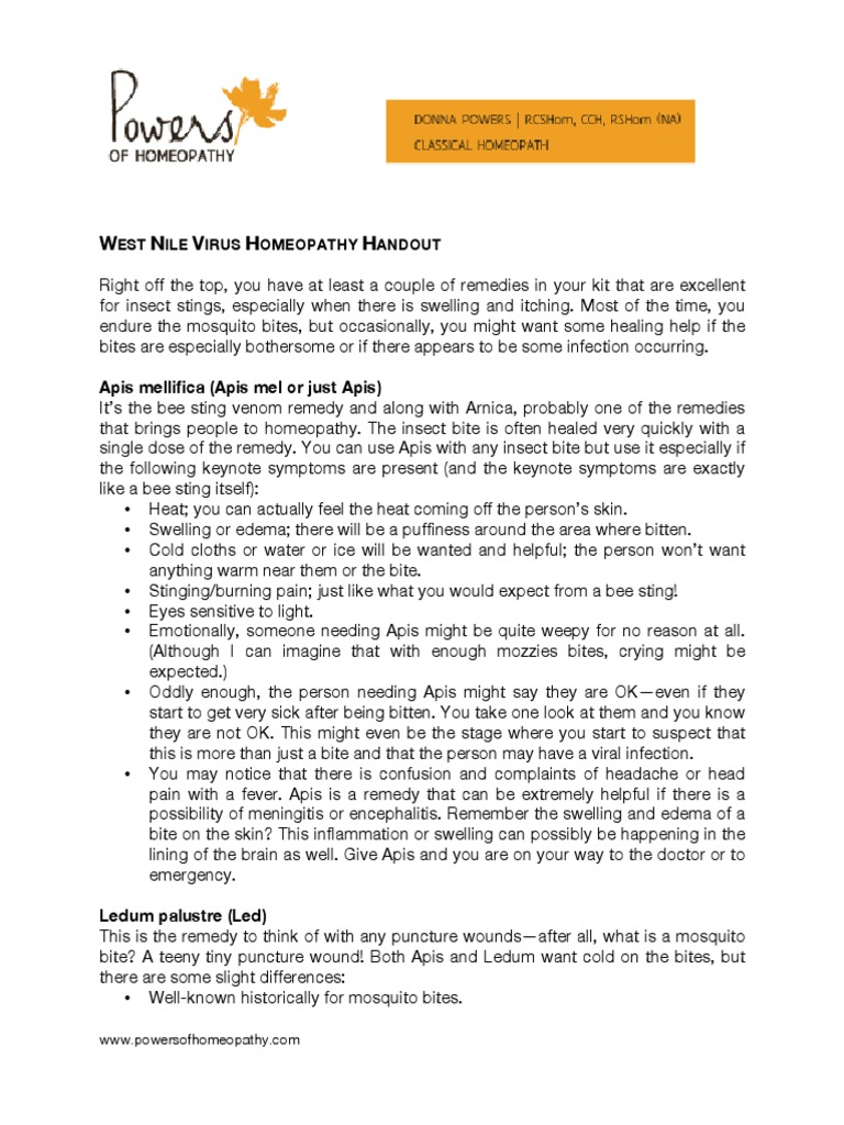 West Nile Virus Homeopathy Handout | Influenza | Honey Bee