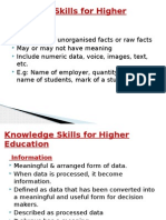 Knowledge Skills for Higher Education