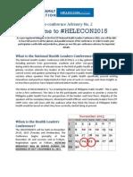 pre-HELECON Advisory NO. 2