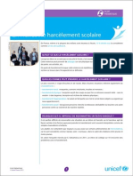 Etude UNicef sur  Harcelement Scolaire en France