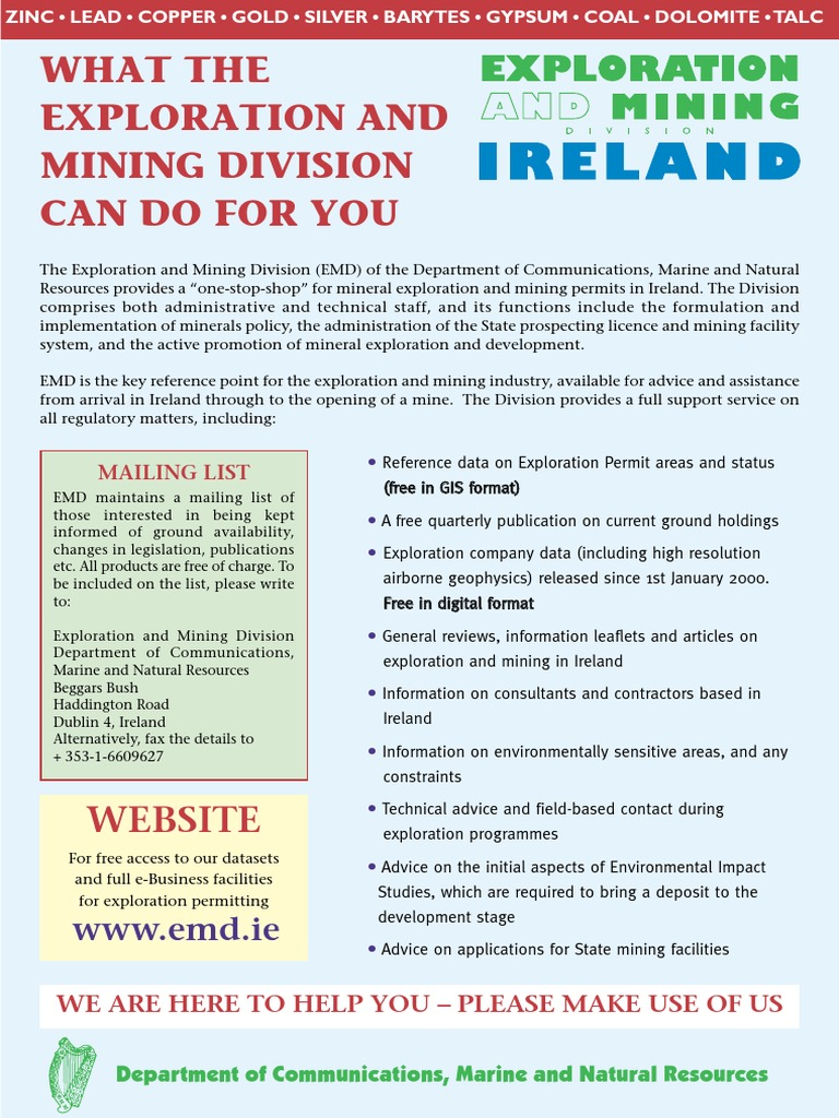 Mineral Map of Ireland | Republic Of Ireland | Mining