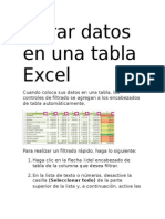 Filtrar Datos en Una Tabla Excel