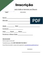 Inscrição I Passeio TT ao Douro