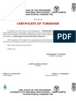 Certificate of Turn-over