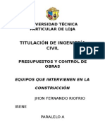 Jhon Riofrio Presupuestos Maquinaria