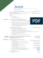Resume of Fin Glowick