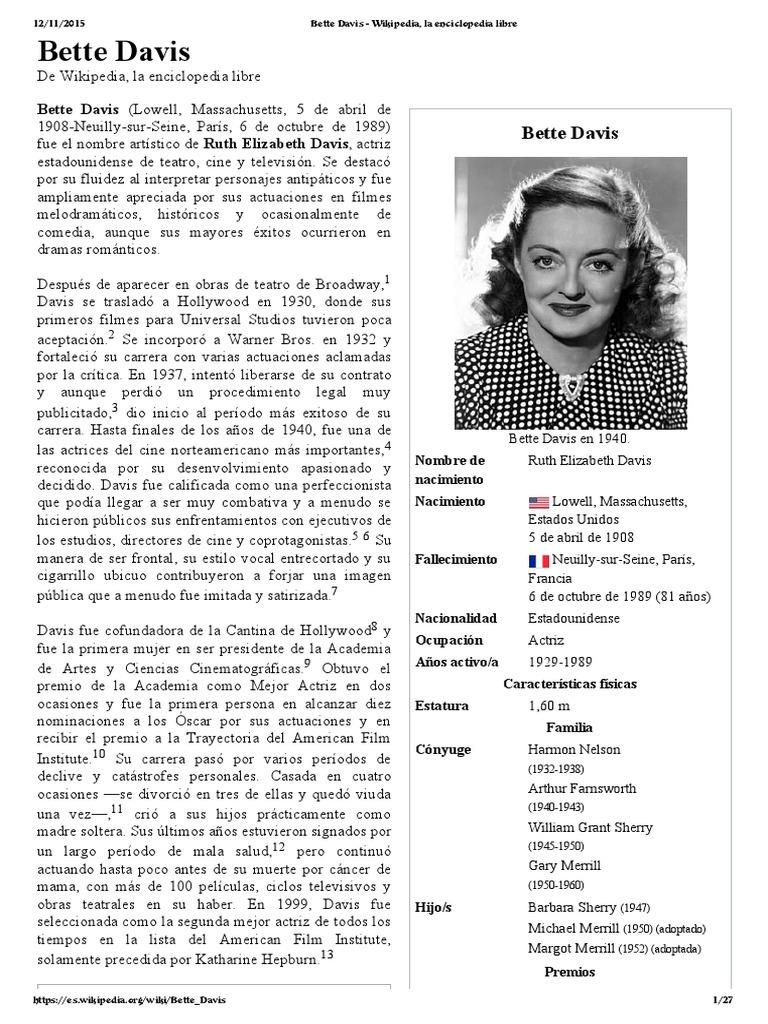 Bette Davis   Cine   Entretenimiento (general)