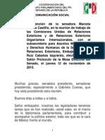 12-11-15 Intervención de La Senadora Marcela Guerra Castillo, En La Reunión de Trabajo de Las Comisiones Unidas de Relaciones Exteriores y de Relaciones Exteriores Organismos Internacionales
