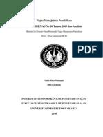 Tugas Manajemen Pendidikan Analisis UU Sisdiknas