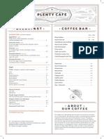 Plenty Cafe Food Menu