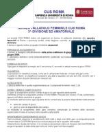 TORNEO CUS ROMA - info generali