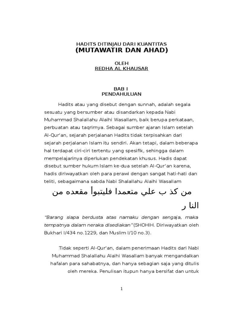 Hadits Mutawatir Dan Ahad