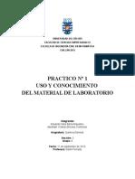 USO Y CONOCIMIENTO  DEL MATERIAL DE LABORATORIO