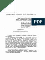 1967 - Ruy Afonso Da Costa Nunes a Origem Da Universidade de Paris (I)
