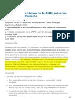 Declaracion de Lisboa de La AMM Sobre Derechos Del Paciente