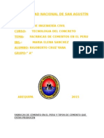 Fabricas de Cemento en El Peru y Tipos de Cemento Que Estas Producen