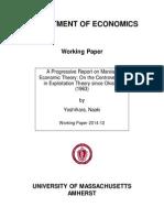 A Progressive Report on Marxian Economic Theory
