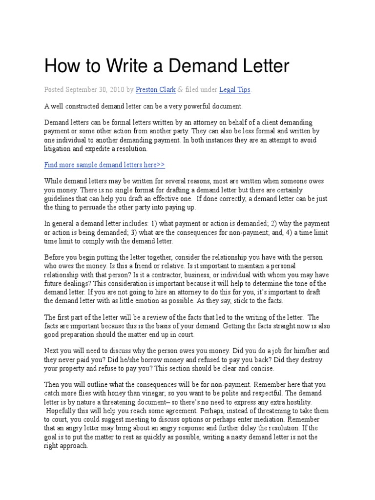 How To Write A Demand Letter Eviction Lease - Formal demand for payment letter template