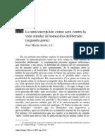 05.2 «La anticoncepción como acto contra la vida similar al homicidio deliberado (segunda parte)», Alpha Omega, 8, n. 1 (2005), 13-32 - José María Antón Contreras, L.C.