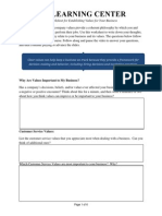 Establishing Values for Your Business Worksheet