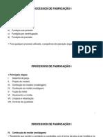 Processos de Fabricação I Fundição Moldagem