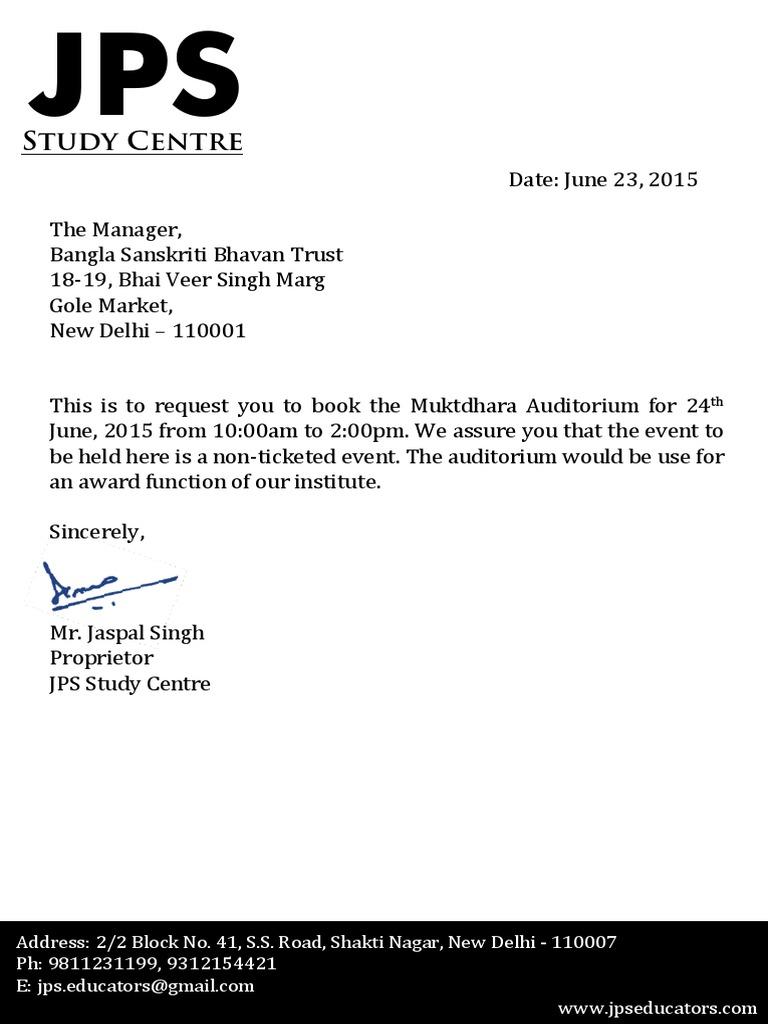 Auditorium request letter spiritdancerdesigns Gallery
