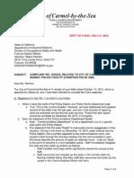 City of Carmel Response Letter Cal-OSHA Complaint No. 1025533 10-29-15