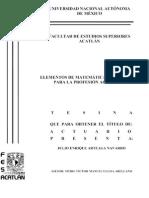 Elementos de Matemáticas Financieras Para La Profesión Actuarial