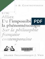 Eric Alliez-De l'Impossibilite de La Phenomenologie_ Sur La Philosophie Francaise Contemporaine (Problems Et Controverses)-J. Vrin (1995)