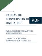 Tablas Termodinámica, conversión de unidades