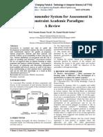 Hybrid Recommender System for Assessment in Multi-Constraint Academic Paradigm