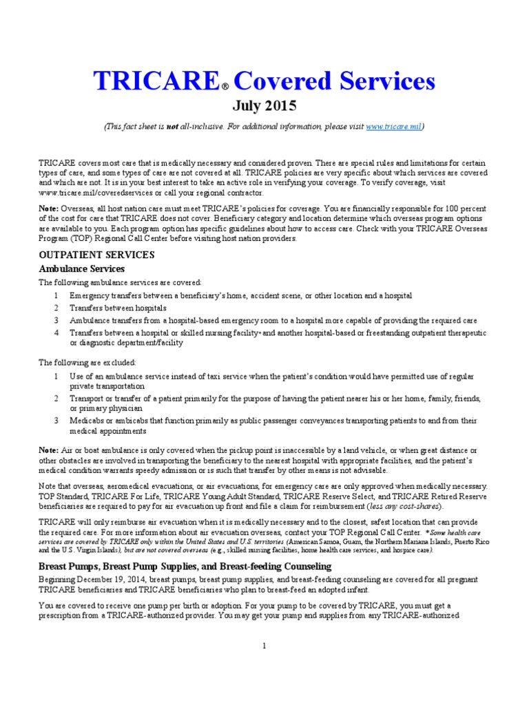 TRICARE Covered Services Fact Sheet 2015 | Psychiatry | Colorectal