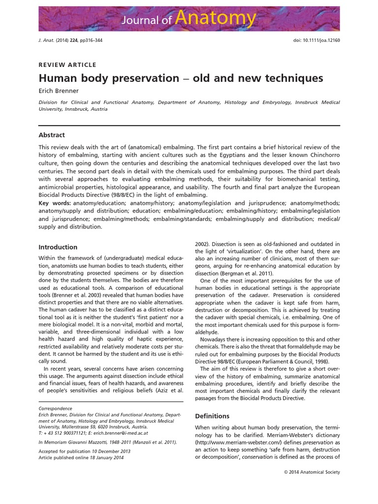 Human Body Preservation – Old and New Techniques | Formaldehyde ...