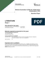 Literature Stage 3 Exam 2014