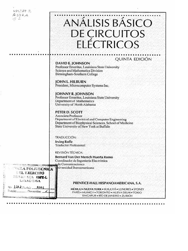 Circuito Basico Electrico : Analisis basico de circuitos electricos ed johnson hilburn