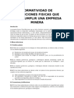 NORMATIVIDAD DE CONDICIONES FISICAS QUE DEBE CUMPLIR UNA EMPRESA MINERA