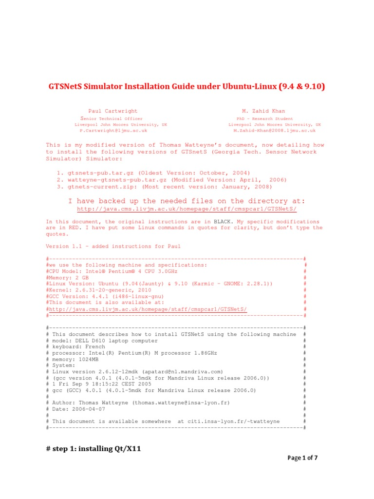 GTSNetS Simulator Installation Manual for Linux Ubuntu | Library