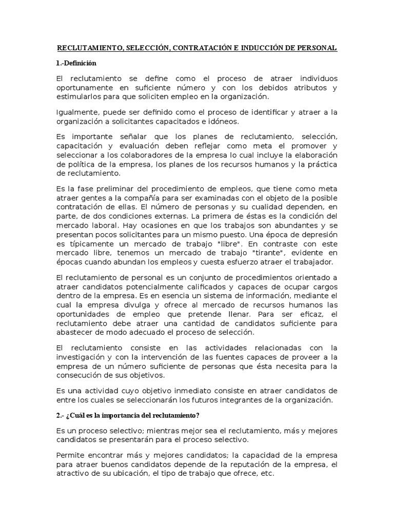 Reclutamiento Seleccion Contratacion E Induccion De Personal